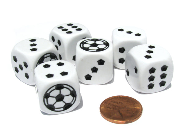 Set of 6 Soccer 18mm D6 Rounded Edges Sports Dice - White with Black Pips