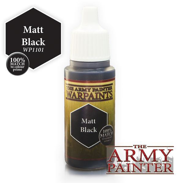 The Army Painter Acrylic Warpaints: Matte Black 18mL Eyedropper Paint Bottle