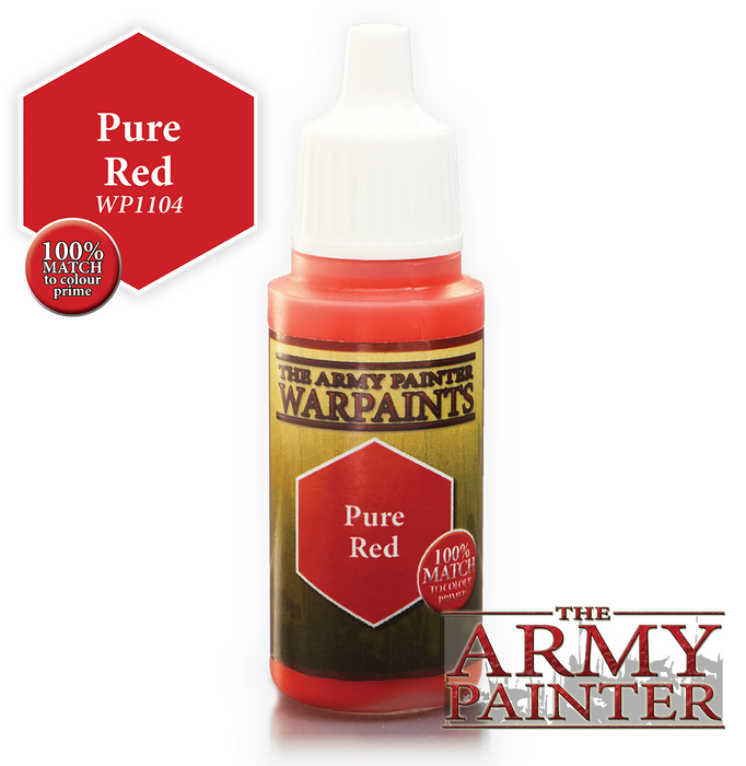 The Army Painter Acrylic Warpaints: Pure Red 18mL Eyedropper Paint Bottle