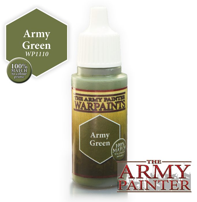 The Army Painter Acrylic Warpaints: Army Green 18mL Eyedropper Paint Bottle