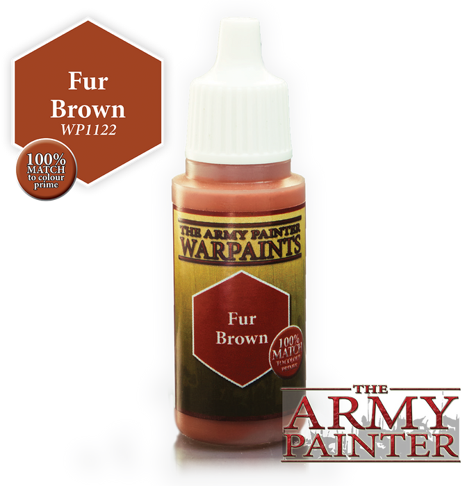 The Army Painter Acrylic Warpaints: Fur Brown 18mL Eyedropper Paint Bottle