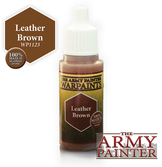 The Army Painter Acrylic Warpaints: Leather Brown 18mL Eyedropper Paint Bottle