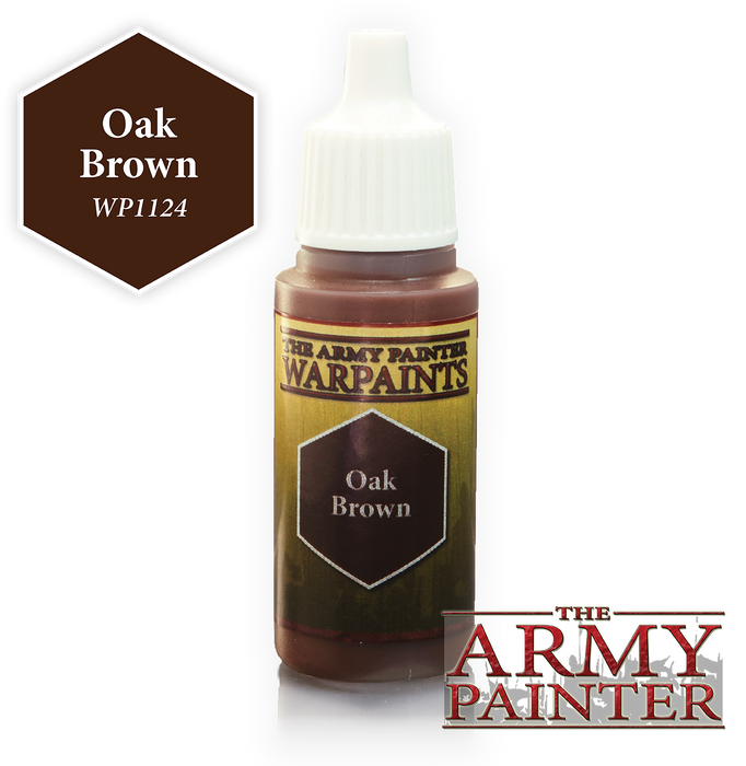 The Army Painter Acrylic Warpaints: Oak Brown 18mL Eyedropper Paint Bottle