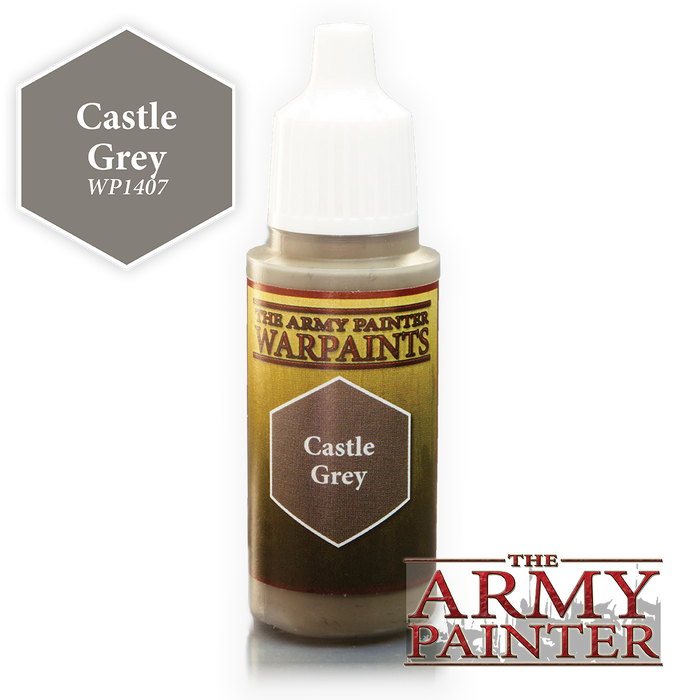 The Army Painter Acrylic Warpaints: Castle Grey 18mL Eyedropper Paint Bottle