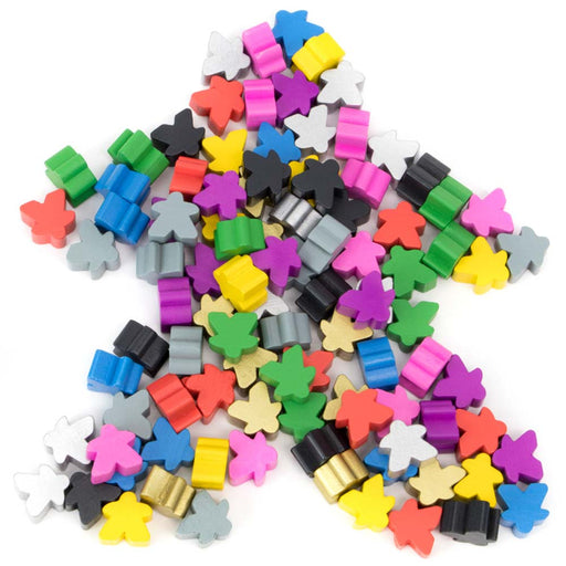 Pack of 100 Wooden Meeples Board Game Pawns - Assorted Colors