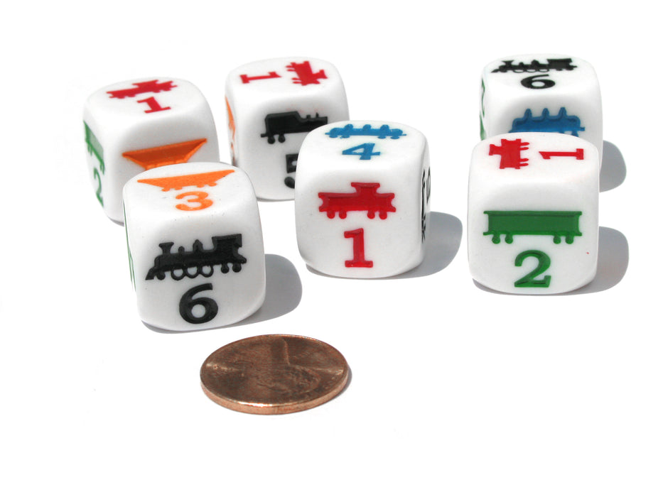 Set of 6 Train 18mm D6 Rounded Edge Koplow Dice - White with Multi-Color Etches