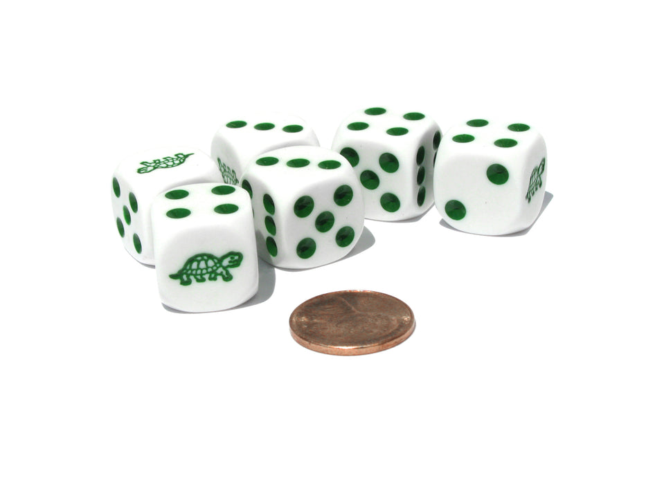 Set of 6 Turtle 16mm D6 Round Edged Koplow Animal Dice - White with Green Pips