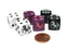 Set of 6 Unicorn 16mm D6 Round Edge Dice - 2 Each of Black, Purple, and White