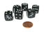 Set of 6 Unicorn 16mm D6 Round Edge Koplow Animal Dice - Black with White Pips