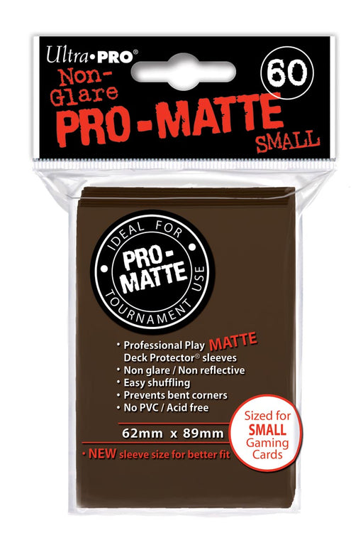 Ultra Pro Pro-Matte Small Size Deck Protector Sleeves 62mm x 89mm: Brown 60ct