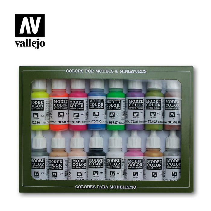Acrylicos Vallejo Model Color 16 Bottle Paint Set - Wargames Special