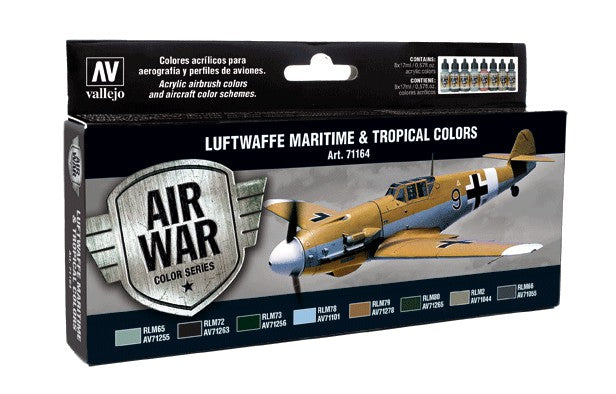 Acrylicos Vallejo Model Air: Luftwaffe Maritime & Tropical Colors 8 Bottle Set