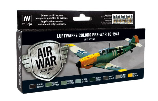 Acrylicos Vallejo Model Air: Luftwaffe Colors Pre-War to 1941 8 Bottle Paint Set