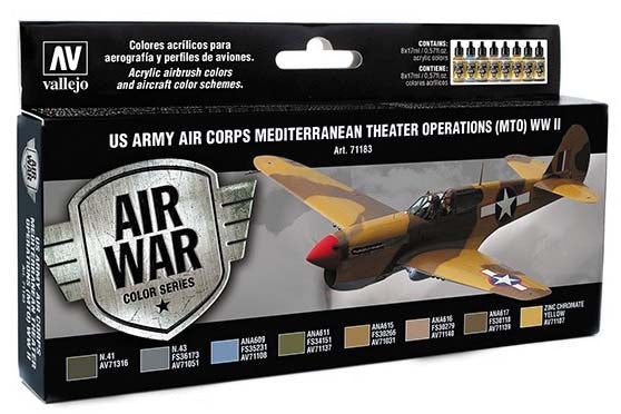 Acrylicos Vallejo Model Air: US Army Corps Mediterranean Theater WWII 8 Bottles