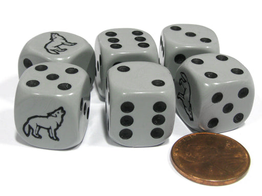 Set of 6 Wolf 16mm D6 Round Edged Koplow Animal Dice - Gray with Black Pips
