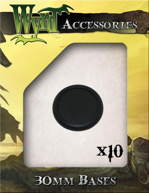 Wyrd Miniatures Malifaux - 30mm Black Round Plastic Bases (10 Pieces)