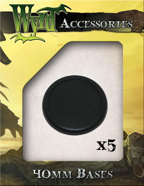 Wyrd Miniatures Malifaux - 40mm Black Round Plastic Bases (5 Pieces)
