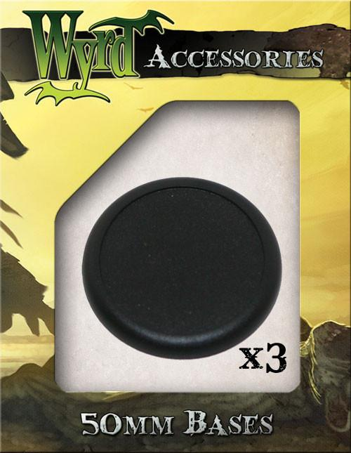 Wyrd Miniatures Malifaux - 50mm Black Round Plastic Bases (3 Pieces)