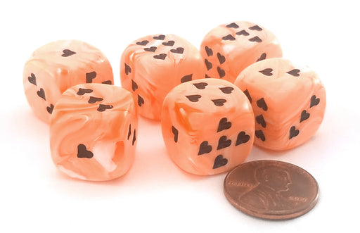 Pack of 6 Heart 'Ice Cream' 16mm D6 Chessex Dice - Orange with Black Hearts