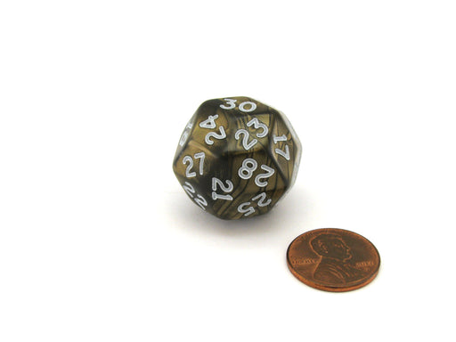 Pearlescent Triantakohedron D30 25mm Chessex Dice - Antique Bronze with White