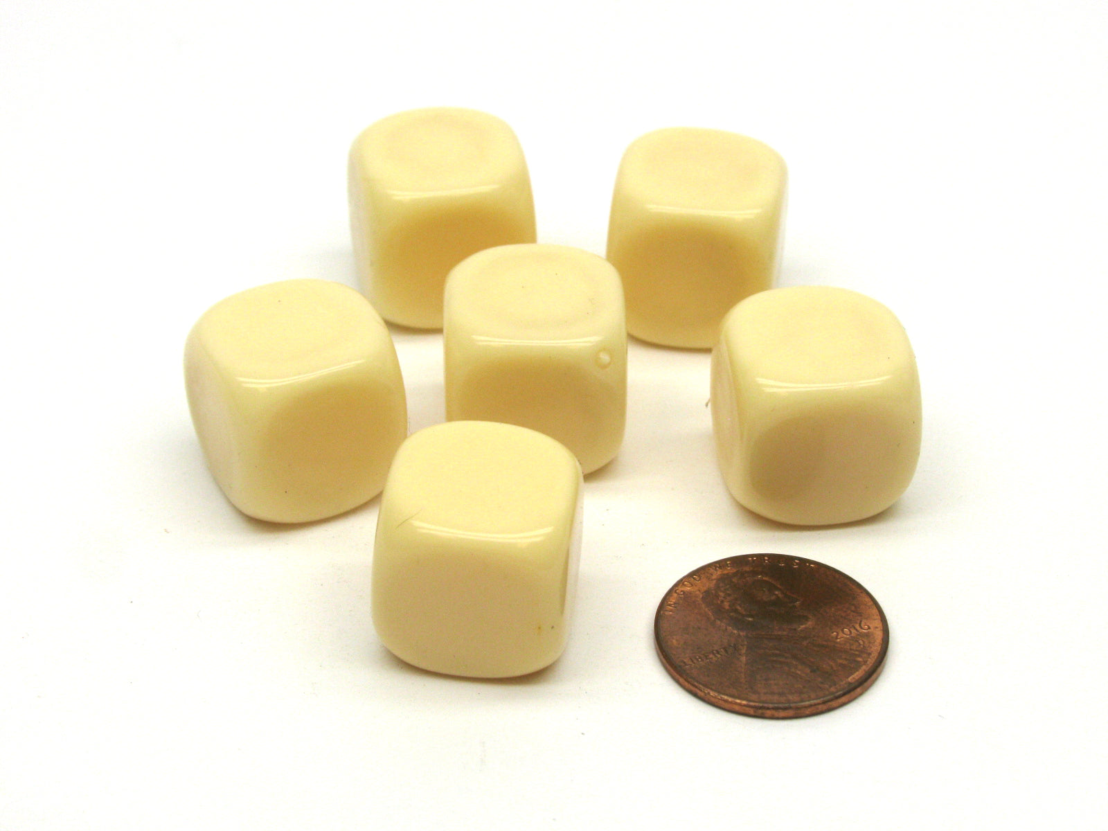 Opaque 15mm D6 Blank Chessex Dice with Rounded Corners, 6 Pieces - Ivory