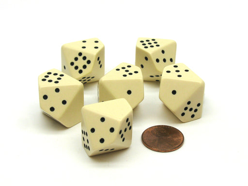 Opaque 20mm 10 Sided D10 Spotted Pip Dice, 6 Pieces - Ivory with Black Spots