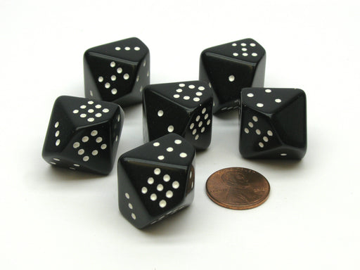 Opaque 20mm 10 Sided D10 Spotted Pip Dice, 6 Pieces - Black with White Spots