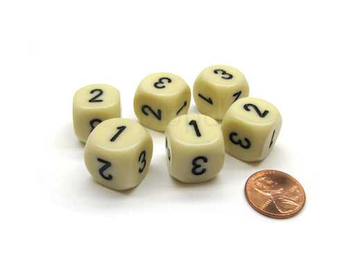 Opaque 16mm D3 Chessex Dice, 6 Pieces (D6 with 1-2-3 Twice) - Ivory with Black
