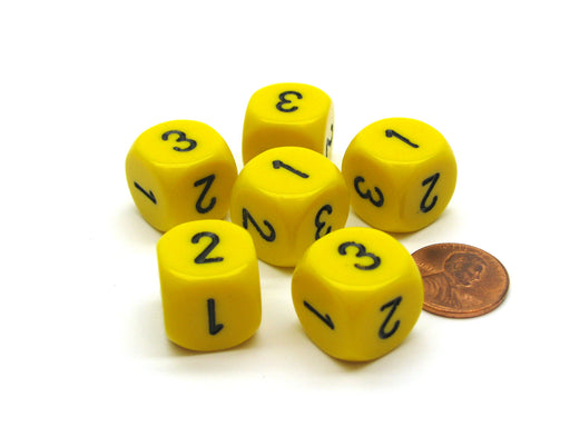 Opaque 16mm D3 (D6 with 1-2-3 Twice) Chessex Dice, 6 Pieces - Yellow with Black
