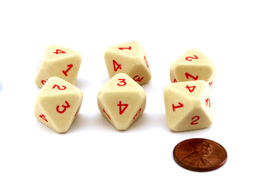 Opaque Ivory 8-Sided Chessex Die Numbered 1-4 Twice, 6 Dice