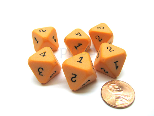 Opaque Orange with Black Chessex 8 Sided Die Numbered 1-4 Twice, 6 Dice
