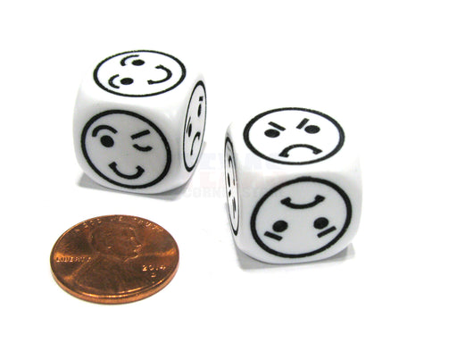 Set of 2 18mm 6-Sided Happy Sad Angry Playful Smiley Face Dice- White with Black