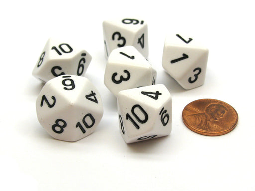 Opaque 16mm 10 Sided D10 Dice Numbered 1 to 10, 6 Pieces - White with Black