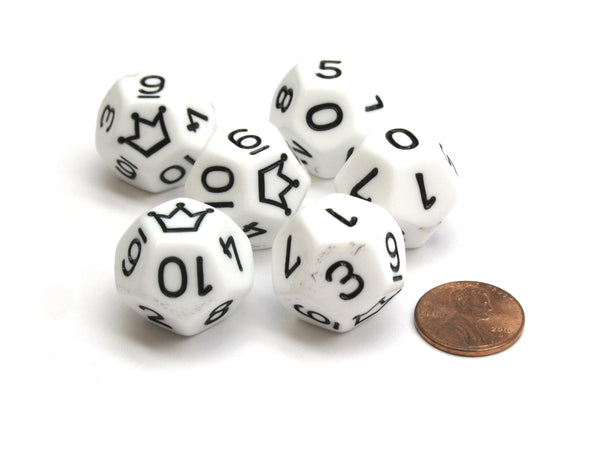 Opaque 20mm D12 Custom Chessex Dice, 6 Pieces - White with Black Crown