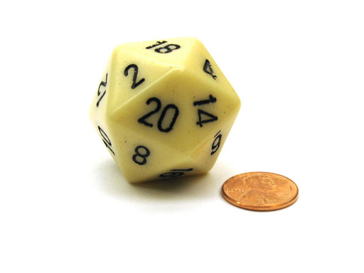 34mm Large 20-Sided D20 Opaque Chessex Dice, 1 Die - Ivory with Black Numbers