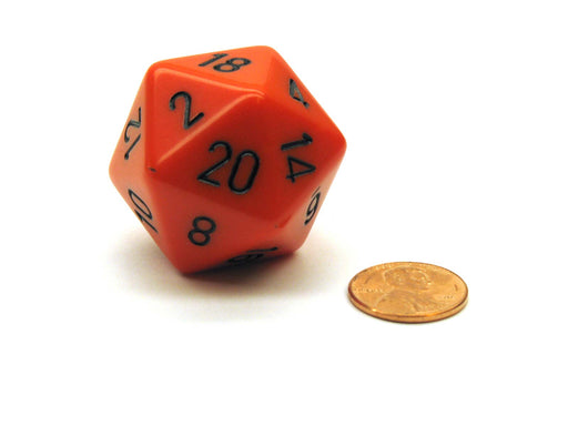 34mm Large 20-Sided D20 Opaque Chessex Dice, 1 Die - Orange with Black Numbers