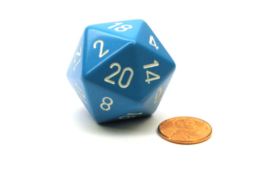 34mm Large 20-Sided D20 Opaque Chessex Dice, 1 Die-Light Blue with White Numbers