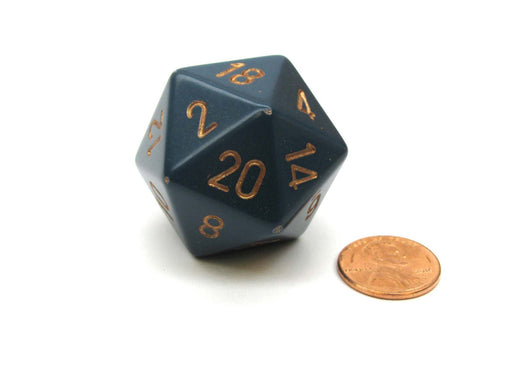 34mm Large 20-Sided D20 Opaque Chessex Dice, 1 Die -Dusty Blue w/ Copper Numbers