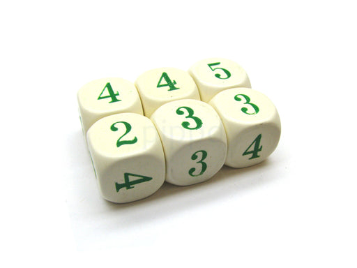 Opaque 16mm Chessex Averaging Dice (2-3-3-4-4-5) - Ivory with Green