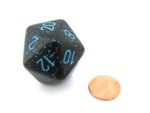34mm Large 20-Sided D20 Speckled Chessex Dice, 1 Die - Blue Stars
