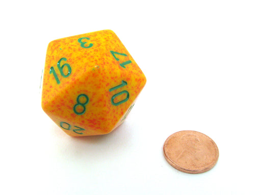 34mm Large 20-Sided D20 Speckled Chessex Dice, 1 Die - Lotus