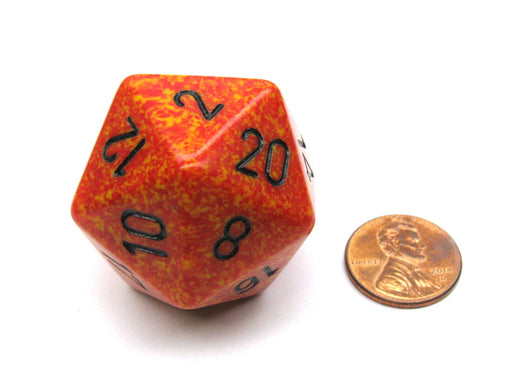 34mm Large 20-Sided D20 Speckled Chessex Dice, 1 Die - Fire