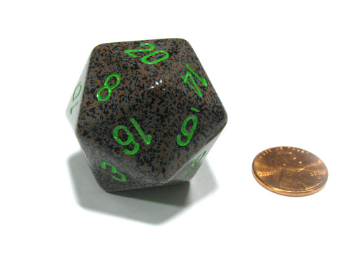 34mm Large 20-Sided D20 Speckled Chessex Dice, 1 Die - Earth