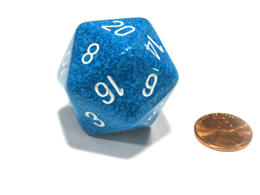 34mm Large 20-Sided D20 Speckled Chessex Dice, 1 Die - Water