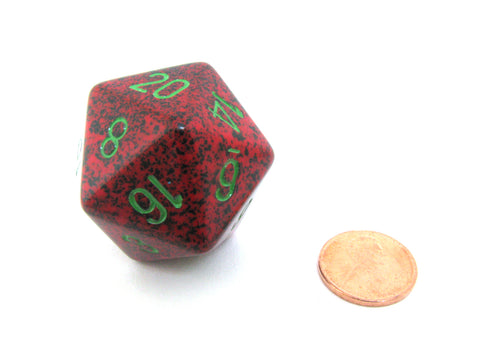 34mm Large 20-Sided D20 Speckled Chessex Dice, 1 Die - Strawberry