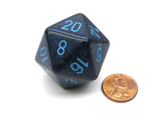 34mm Large 20-Sided D20 Speckled Chessex Dice, 1 Die - Cobalt