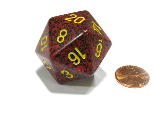 34mm Large 20-Sided D20 Speckled Chessex Dice, 1 Die - Mercury
