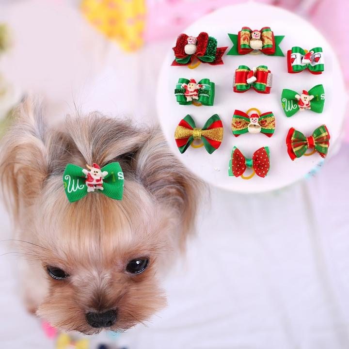 One Pack Pet Ribbon Hair Accessories With Rubber Band