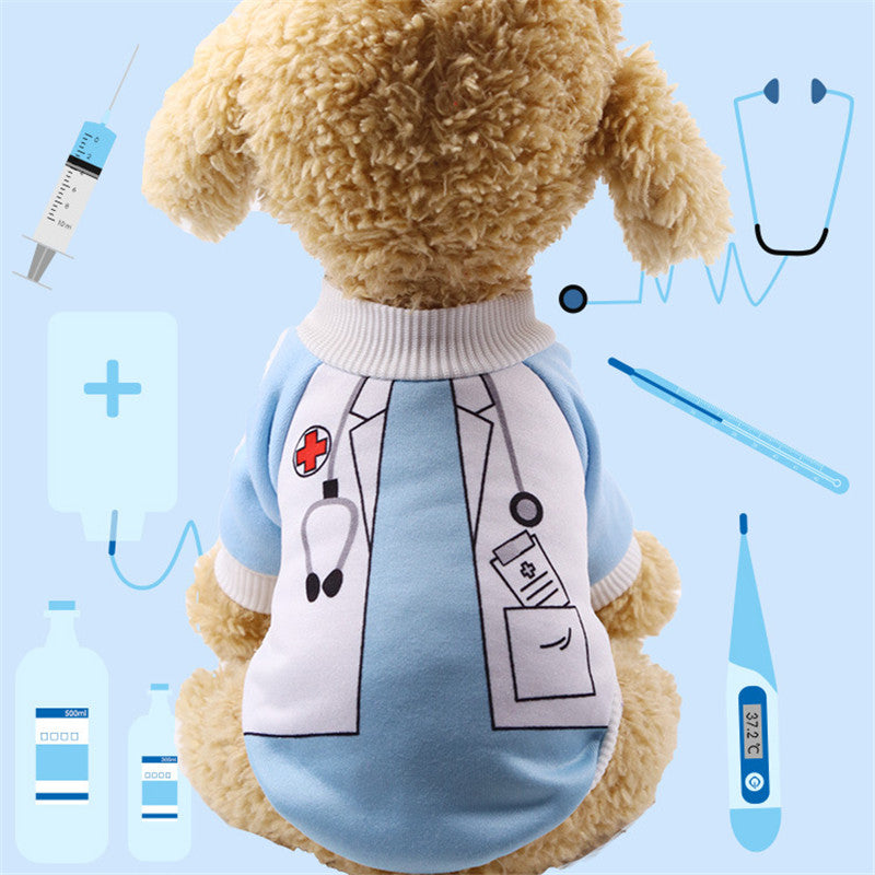 Cute Little Doctor Soft Dog Winter Coat Puppy Sweater