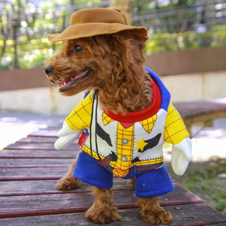 Cute Toy Story Woody Cowboy Costume With Brown Hat For Dog